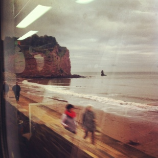Incredible front row beach view on the train from London to Totnes.